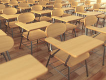 School classroom with empty school chairs and blackboard. Back t Stock Photography