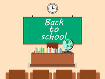School classroom in flat style. School board on the wall, books on the table. Royalty Free Stock Photos