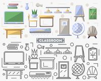 School classroom furniture set in flat style. Blackboard, desk, table, globe, chair, door vector illustration. Collection for architecture design studio, house Royalty Free Stock Photo