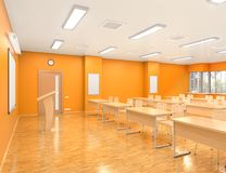School classroom interior. 3d Royalty Free Stock Photography