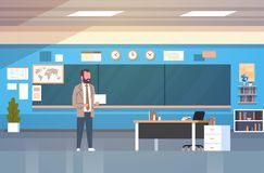 School Classroom Interior With Male Teacher Standing Over Chalk Board In Class Room. Flat Vector Illustration stock illustration