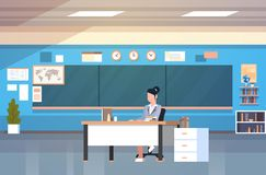 School Classroom Interior Woman Teacher Sitting At Desk Over Chalk Board In Class Room. Flat Vector Illustration Royalty Free Stock Images