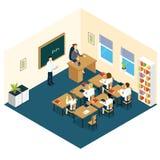 School Classroom Isometric Design Stock Photo