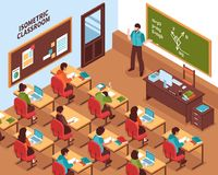 School Classroom Lesson Isometric Poster vector illustration