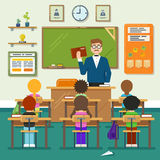 School classroom with schoolchild, pupils and teachers. Vector flat illustration. Classroom education, schoolchild classroom,  lesson classroom Stock Image