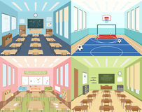 School classrooms and sportroom Royalty Free Stock Image