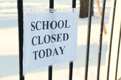 School closed due. To heavy snowfall royalty free stock photography