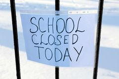 School closed due to snowfall. School closed due to heavy snowfall Royalty Free Stock Image