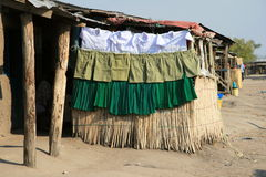 School clothing. Clothes for schoolkids in a Tanzanian village on the shore of Lake Victoria Stock Image