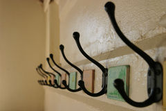 School Coat Hooks (selective focus) Stock Photography