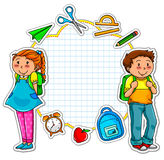 School collection. School kids and a set of school related items Royalty Free Stock Photography