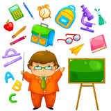 School collection. Cartoon teacher and items related to school Stock Images