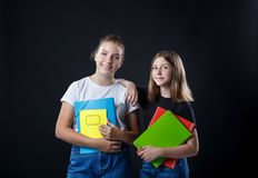 School colledge teenagers girl with stationary books notebooks stock photo