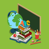 School college education flat 3d web isometric infographic. School college university education flat 3d web isometric infographic concept . Chalkboard globe heap stock illustration