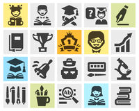 School, college, education set black icons.  Stock Photo