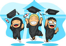 School-College Graduation Cartoon. A vector image of students graduating. Drawn in cartoon style, this vector is very good for design that needs school Royalty Free Stock Photography