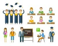 School, college icons set. graduate, university Stock Images