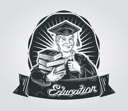 School, college  logo design template. education or student, pupil, graduate icon Royalty Free Stock Photos