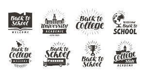School, college set icons. Beautiful calligraphic lettering. Label vector illustration Stock Image