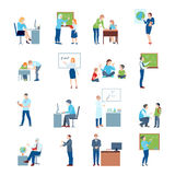 School College Teacher Flat Icons. Secondary school teacher at chalkboard white board and by students desk flat icons collection isolated vector illustration Stock Photos