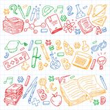 School, college, university, kindergarten pattern with vector elements and icons. Creativity and imagination. School, college, university, kindergarten pattern stock illustration