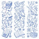School, college, university, kindergarten pattern with vector elements and icons. Creativity and imagination. School, college, university, kindergarten pattern royalty free illustration