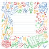 School, college, university, kindergarten pattern with vector elements and icons. Creativity and imagination. School, college, university, kindergarten pattern vector illustration