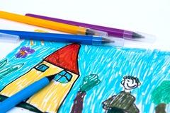 School - color felt pens. On child drawing Stock Photos