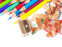 School color pencils shavings on white background Royalty Free Stock Image