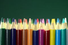 School Colored Pencils With Extreme Depth of Field Stock Images