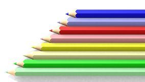 School colored pencils on white background Royalty Free Stock Image