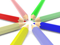 School colored pencils on white background Stock Photo