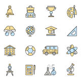 School Colorful Icon Set Royalty Free Stock Photography