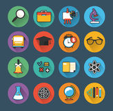 School colorful icon set with long shadows Royalty Free Stock Image