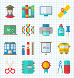 School Colorful Simple Icons. Illustration School Colorful Simple Icons, Objects and Elements for Education - Vector Stock Image