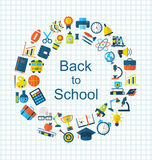 School Colorful Simple Objects and Elements Stock Images