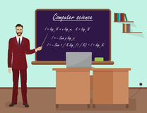 School Computer science male teacher in audience class concept. Vector illustration. Royalty Free Stock Photos