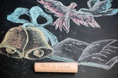 back to school inscription on a large chalk on a blackboard chal Royalty Free Stock Photo