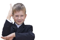 School concept. The boy raised his hand. Stock Photos