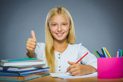 School concept. Closeup portrait successful happy girl draws pencil Royalty Free Stock Photos