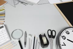 School concept, desk with stationery Stock Photo