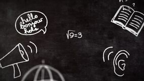 School concept icons and Mathematical equations against blackboard
