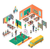 School Concept in Isometric Projection Vector Royalty Free Stock Photo