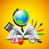 School concept with opened book and tools on yellow background. School concept with opened book, globe and other tools on yellow background Royalty Free Stock Images