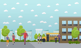 School concept vector banner. College yard, building and bus Royalty Free Stock Image