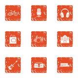 School concert icons set, grunge style. School concert icons set. Grunge set of 9 school concert vector icons for web isolated on white background Stock Photos