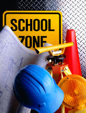 School Construction Plans. With tools and hard hat Royalty Free Stock Photos