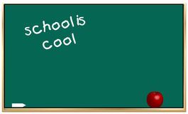 School is cool. Chalk board with school is cool and apple - vector vector illustration