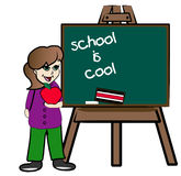School is cool. Student standing at chalkboard promoting school is cool royalty free illustration