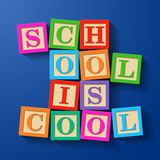 School is Cool. Phrase compiled with wooden alphabet blocks stock illustration